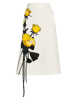 Painted & Origami Satin Rose A Line Skirt by Prada