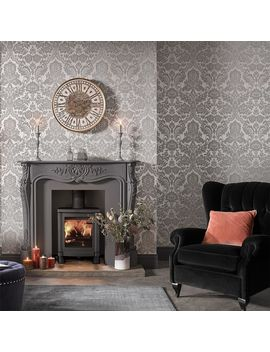 Gothic Damask Flock Grey & Silver Wallpaper by Graham & Brown