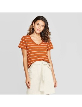 Women's Striped Monterey Pocket V Neck Short Sleeve T Shirt   Universal Thread Brown by Neck Short Sleeve T
