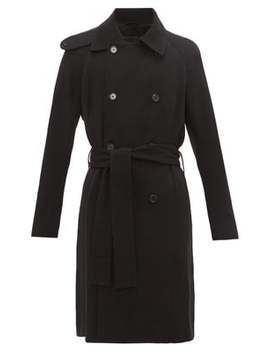 Double Breasted Wool Blend Trench Coat by Ann Demeulemeester