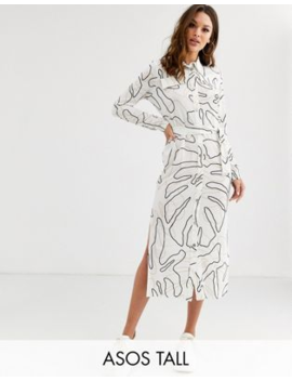 Asos Design Tall Midi Belted Shirt Dress In Print by Asos Design
