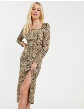 Warehouse Midi Dress With Square Neck In Animal Print by Warehouse