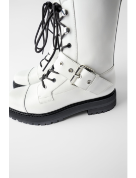 Low Heeled Leather Ankle Boots With Buckle Boots by Zara