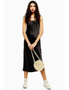 Black Built Up Satin Slip Dress by Topshop