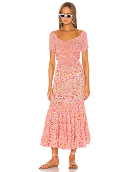 Soledad Off Shoulder Dress In Pink Papilon by Poupette St Barth
