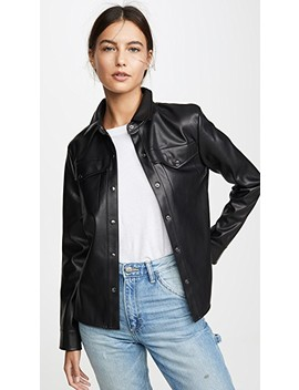 Way Out West Vegan Leather Shirt Jacket by Bb Dakota