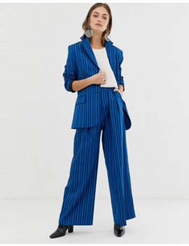 Asos White Tonal Stripe Blazer And Trousers by Asos