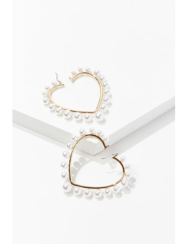 Faux Pearl Heart Hoop Earrings by Forever 21