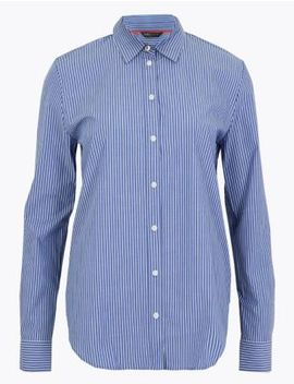 Pima Cotton Striped Shirt by Marks & Spencer
