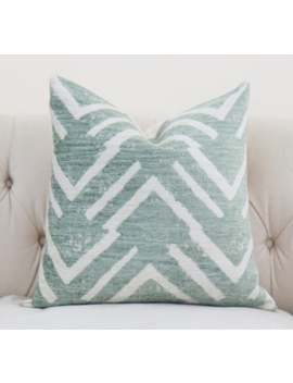 Green Geometric Pillow Cover   Sea Green Zig Zag   Throw   Sage Green Pillow   Large Scale Graphic Green & Gray Pillow Cover   Motif Pillows by Etsy