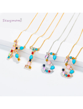 Multicolor Fashion Charm Gold 26 Alphabet Pendant Necklace Micro Pave Zircon Initial Letter Necklaces Couple Name Necklace by Ali Express.Com