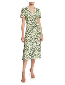 Cecilia Leopard Print Button Front Midi Dress by Diane Von Furstenberg