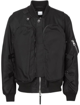 Nylon Twill Bomber Jacket With Detachable Gilet by Burberry