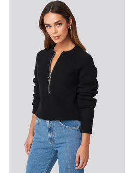 Zipper Front Knitted Sweater Sort by Na Kd