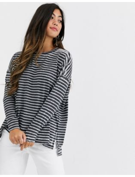 Asos Design Petite Oversized T Shirt In Burnout Stripe With Long Sleeve by Asos Design