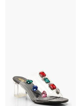 Embellished Clear Heel Mules by Boohoo