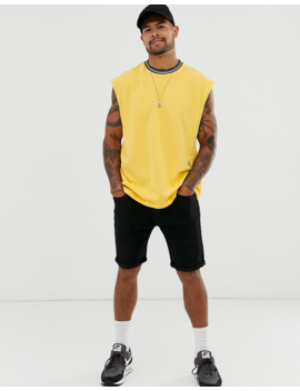 Asos Design Oversized Sleeveless T Shirt With Contrast Tipping In Yellow by Asos Design