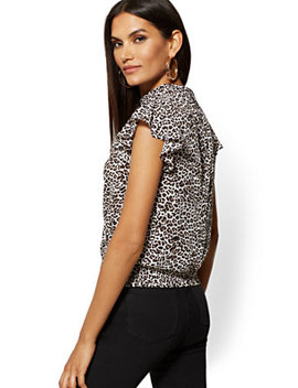 Leopard Flutter Sleeve Blouse by New York & Company