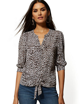 Leopard Print Tie Front Blouse   Soho Soft Blouse by New York & Company