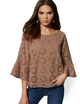 Eyelet Bell Sleeve Blouse by New York & Company
