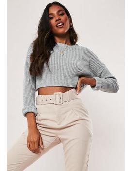 Tall Grey Super Cropped Knitted Jumper by Missguided