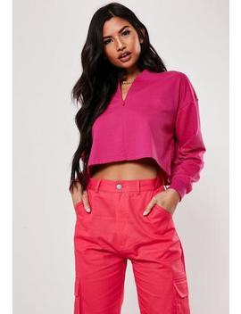 Pink Inserted Zip Crop Sweatshirt by Missguided