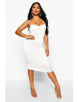 Mesh Insert Chain Strap Midi Dress by Boohoo