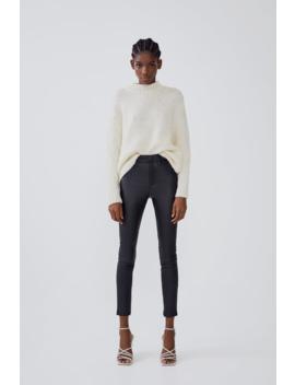 High Waist Waxedeffect Leggings New In Trf by Zara