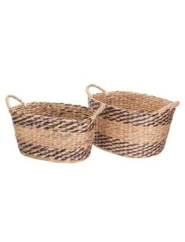 Brown And Natural Handmade Water Hyacinth Twisted Wicker Oval Nesting Baskets (2 Pack) by Villacera