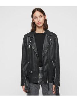 Eline Oversized Leather Biker Jacket by Allsaints