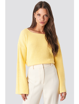 Cropped Long Sleeve Knitted Sweater Yellow by Na Kd