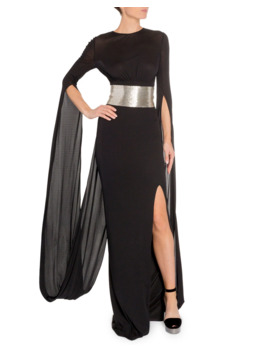 Silver Belted Drape Back Gown by Tom Ford