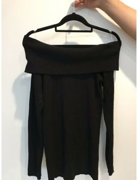 Supre Black Off Shoulder Knit Jumper Size Small by Supre