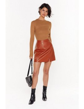 Leather Apologise Faux Leather Mini Skirt by Nasty Gal