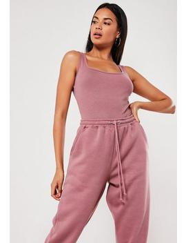 Purple Square Neck Sleeveless Bodysuit by Missguided