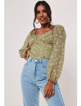 Green Milkmaid Floral Print Top by Missguided