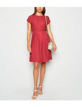 Dark Red Pleated Mini Dress by New Look