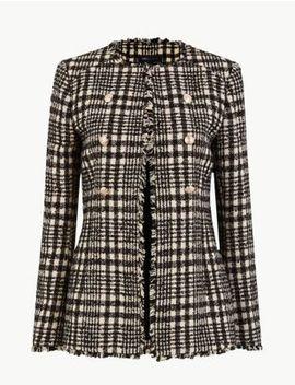 Tweed Checked Longline Blazer by Marks & Spencer