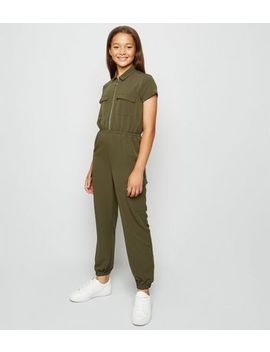 Girls Khaki Ring Zip Front Boilersuit by New Look
