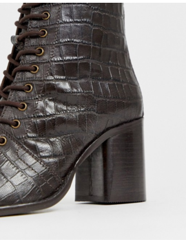 Asos Design Rivet Leather Square Toe Lace Up Boots In Brown Croc by Asos Design