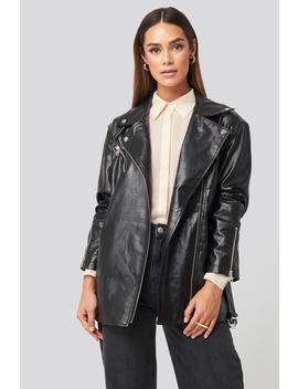 Tied Waist Pu Biker Jacket Black by Na Kd Trend