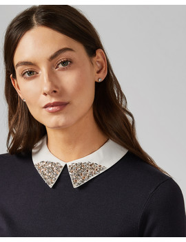 Sparkle Collar Mock Layer Sweater by Ted Baker