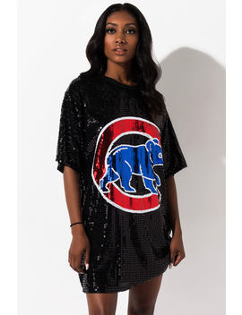 Take Me To The Chicago Cubs Game Sequin Shirt Dress by Akira