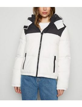 White Colour Block Hooded Puffer Jacket by New Look
