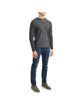 Men's Long Sleeve Polor Fleece Henley, Available Up To Size Xl by Lee