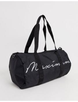 Asos Design Barrel Bag In Black With Maximum Print by Asos Design