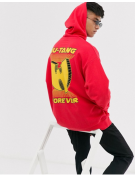 Asos Design Oversized Hoodie With Wu Tang Back Print In Red by Asos Design