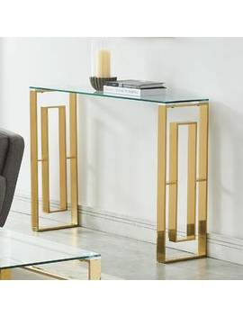Gold Menzel Stainless Steel Console Table by House Of Hampton