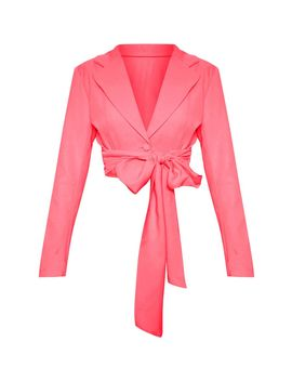 coral-belted-cropped-woven-blazer--- by prettylittlething