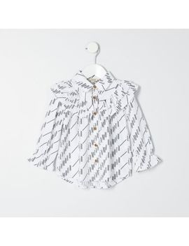 Mini Girls White 'l'amour' Print Shirt by River Island